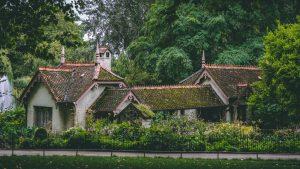 Maison avec toiture en tuile avec mousse
