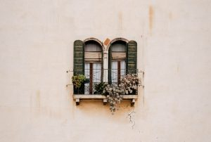 Mur beige avec fenêtre fleurie et fissure